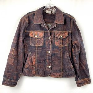 Chicos Size 0 Multi-color Jean Jacket 4 Small